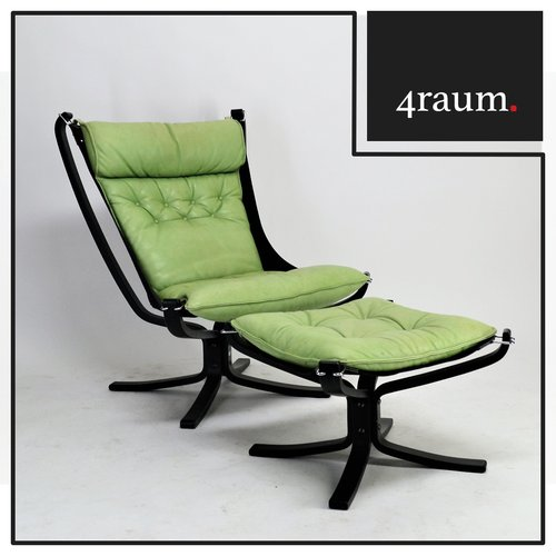 Falcon Chair mit Hocker by Sigurd Resell